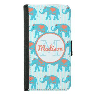 Capa Carteira Para Samsung Galaxy S5 Turquesa da cerceta, elefantes azuis, nome das