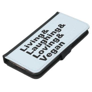 Capa Carteira Para Samsung Galaxy S5 Vida e riso e amor e Vegan (preto)