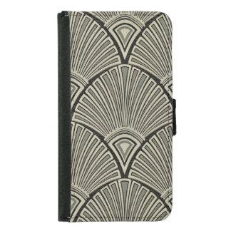 Capa Carteira Para Samsung Galaxy S5 vintage, nouveau da arte, bege, cinza, art deco,