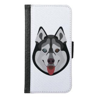 Capa Carteira Para Samsung Galaxy S6 A ilustração persegue o rouco Siberian da cara