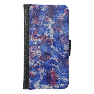 Capa Carteira Para Samsung Galaxy S6 Aguarela azul e vermelha