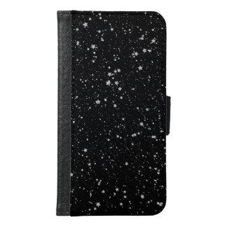 Capa Carteira Para Samsung Galaxy S6 Brilho Stars2 - Preto de prata