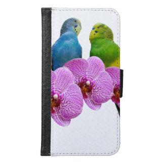 Capa Carteira Para Samsung Galaxy S6 Budgie com orquídea roxa