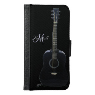 Capa Carteira Para Samsung Galaxy S6 Caixa preta da carteira da música da galáxia S6 da