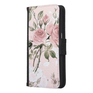 Capa Carteira Para Samsung Galaxy S6 Chique, chique francês, vintage, floral, rústico,