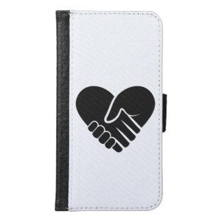 Capa Carteira Para Samsung Galaxy S6 Coração preto conectado amor