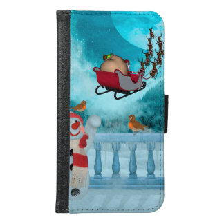 Capa Carteira Para Samsung Galaxy S6 Design do Natal, Papai Noel