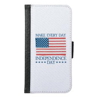 Capa Carteira Para Samsung Galaxy S6 Dia da Independência 4o julho retro