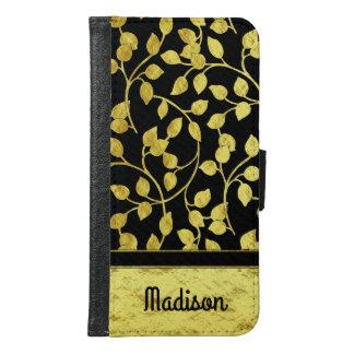 Capa Carteira Para Samsung Galaxy S6 Folhas botânicas da folha de ouro do falso,