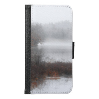 Capa Carteira Para Samsung Galaxy S6 Lago nevoento em um dia de inverno
