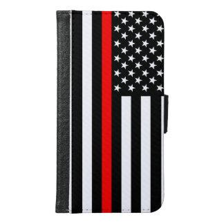 Capa Carteira Para Samsung Galaxy S6 Linha vermelha fina gráfica bandeira dos E.U. da