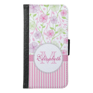 Capa Carteira Para Samsung Galaxy S6 Listras do rosa Pastel, do roxo, das flores, as