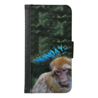 Capa Carteira Para Samsung Galaxy S6 Macaco triste sobre segunda-feira