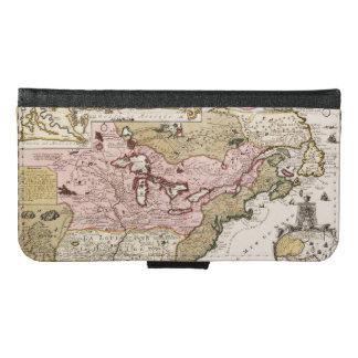 Capa Carteira Para Samsung Galaxy S6 Mapa francês medieval América de Quebeque/France