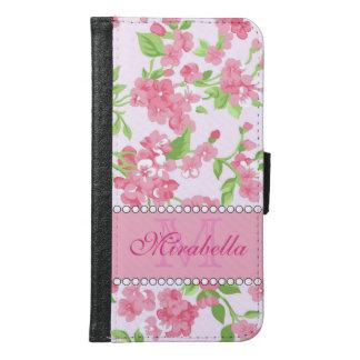 Capa Carteira Para Samsung Galaxy S6 Nome de ramos cor-de-rosa da flor da aguarela do