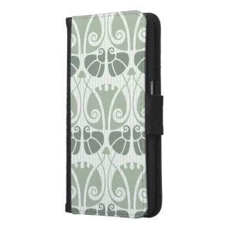 Capa Carteira Para Samsung Galaxy S6 Nouveau da arte, cerceta, bege, floral, époque do