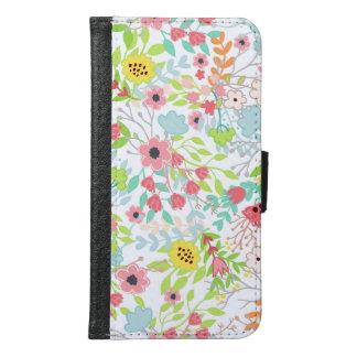 Capa Carteira Para Samsung Galaxy S6 O primavera bonito floresce o teste padrão floral
