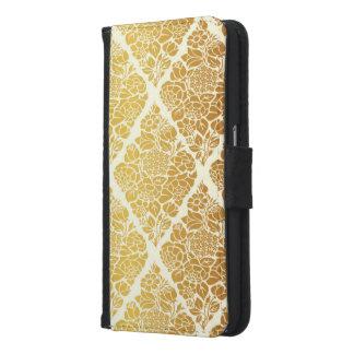 Capa Carteira Para Samsung Galaxy S6 O vintage, ouro, damasco, floral, teste padrão,