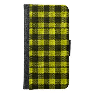 Capa Carteira Para Samsung Galaxy S6 Olhar Checkered de serapilheira do teste padrão do
