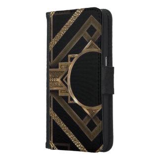 Capa Carteira Para Samsung Galaxy S6 ouro, preto, art deco, metálico, teste padrão,