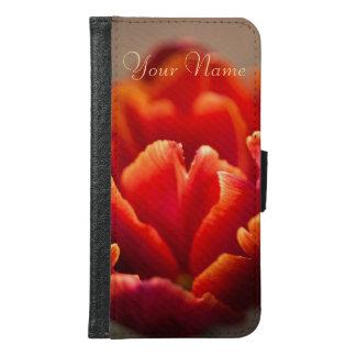 Capa Carteira Para Samsung Galaxy S6 Pétalas vermelhas bonito da tulipa. Adicione seu