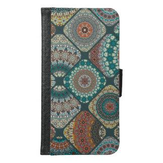 Capa Carteira Para Samsung Galaxy S6 Retalhos do vintage com elementos florais da