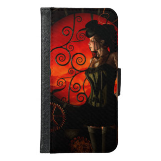 Capa Carteira Para Samsung Galaxy S6 Steampunk, senhora maravilhosa do steampunk na