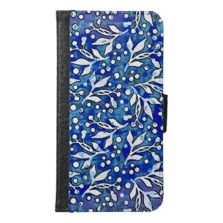 Capa Carteira Para Samsung Galaxy S6 Teste padrão botânico da aguarela azul