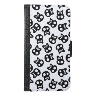 Capa Carteira Para Samsung Galaxy S6 Teste padrão cómico do preto do crânio