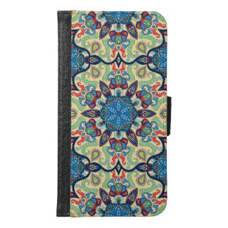 Capa Carteira Para Samsung Galaxy S6 Teste padrão floral étnico abstrato colorido de da