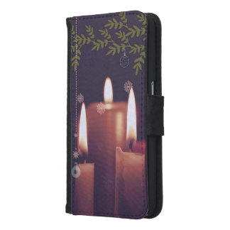 Capa Carteira Para Samsung Galaxy S6 velas do Natal