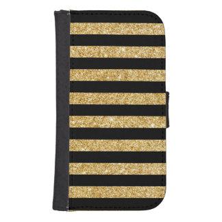 Capa Carteira Para Samsung S4 Brilho elegante do ouro e teste padrão preto da