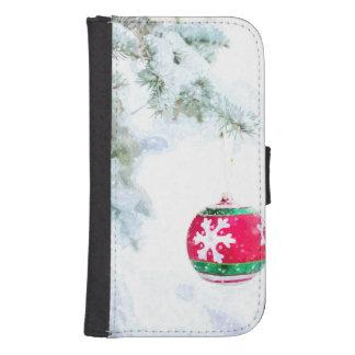 Capa Carteira Para Samsung S4 Clássico branco da neve do ornamento vermelho do