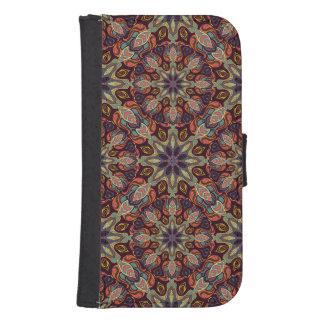 Capa Carteira Para Samsung S4 Design floral do teste padrão do abstrato da