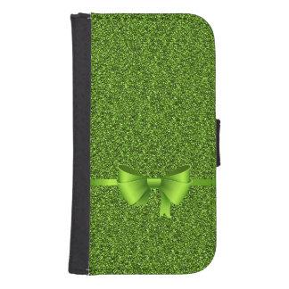 Capa Carteira Para Samsung S4 Fita verde do arco do brilho