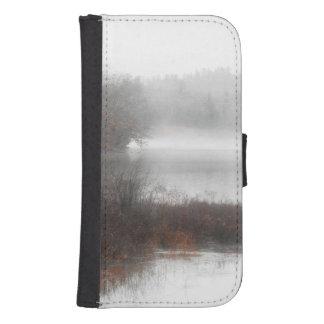 Capa Carteira Para Samsung S4 Lago nevoento em um dia de inverno