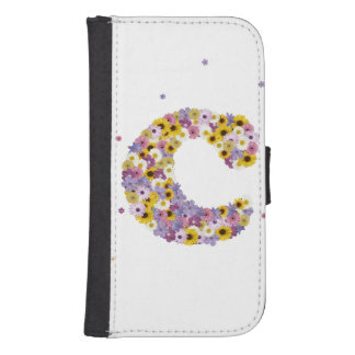 Capa Carteira Para Samsung S4 Letra inicial C nas flores