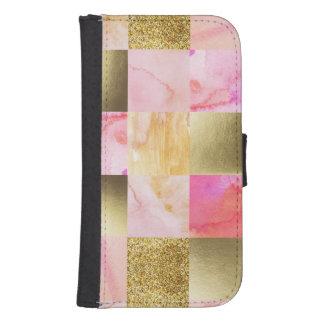 Capa Carteira Para Samsung S4 ouro, pastels, cores de água, quadrados, colagem,