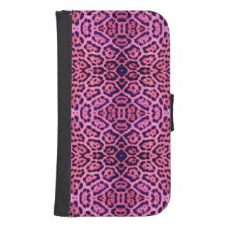 Capa Carteira Para Samsung S4 Pele de Jaguar no rosa e no roxo