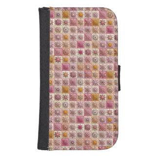 Capa Carteira Para Samsung S4 Retalhos do vintage com elementos florais da