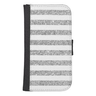 Capa Carteira Para Samsung S4 Teste padrão elegante da listra do brilho da prata