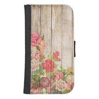 Capa Carteira Rosas românticos rústicos do vintage de madeira