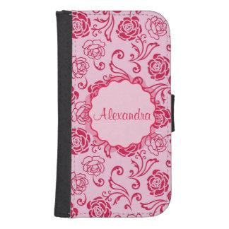Capa Carteira Teste padrão floral da estrutura de rosas de chá