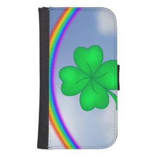 Capa Carteira Trevo De Quatro Folhas com arco-íris