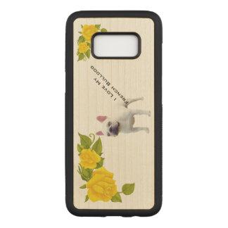 Capa Carved Para Samsung Galaxy S8 Buldogue francês e rosas amarelos