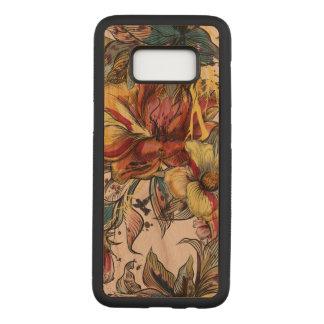 Capa Carved Para Samsung Galaxy S8 Caixa magro floral da madeira da cereja da galáxia
