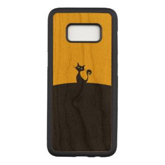 Capa Carved Para Samsung Galaxy S8 Caixa magro preta da madeira da cereja da galáxia