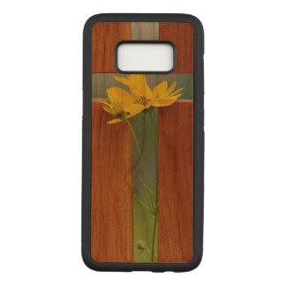 Capa Carved Para Samsung Galaxy S8 Caixa magro transversal da madeira da cereja da