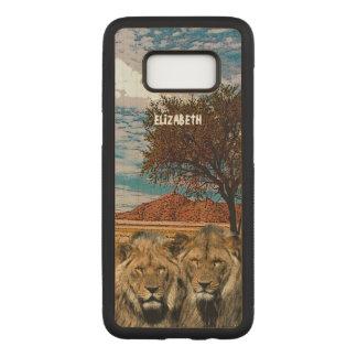 Capa Carved Para Samsung Galaxy S8 Dois leões selvagens no fundo africano do savana