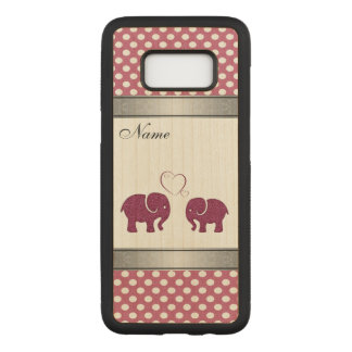 Capa Carved Para Samsung Galaxy S8 Elefante adorável nas bolinhas do amor